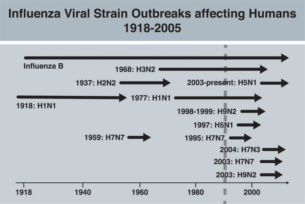 Influenza Viral Strain Outbreaks affecting Humans 1918-2005